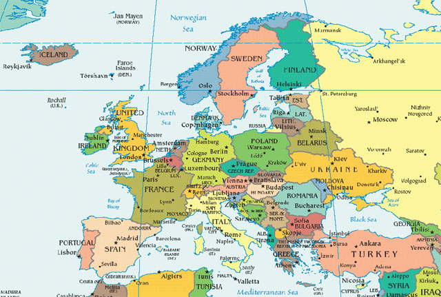 Turkey on a map of europe